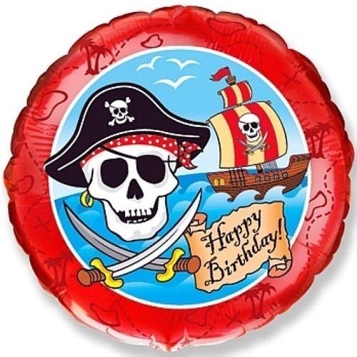 """Hēlija balons ar pirātiem un uzrakstu """"Happy Birthday"""""""