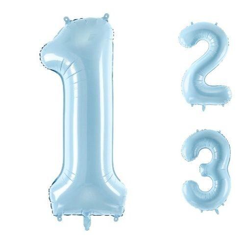Gaiši zila follija ciparu baloni 86cm