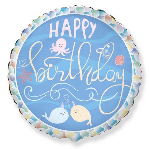 """Hēlija balons ar vaļiem un uzrakstu """"Happy Birthday"""""""