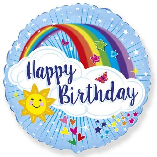 """Hēlija balons ar varavīksni un uzrakstu """"Happy Birthday"""""""