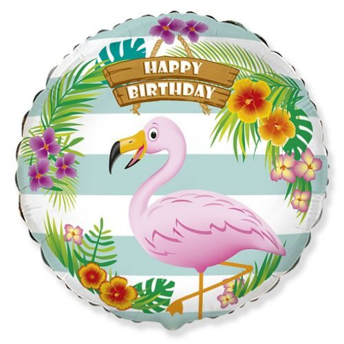 """Hēlija balons ar flamingo un uzrakstu """"Happy Birthday"""""""