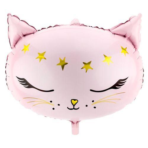 Rozā kaķis - hēlija balons