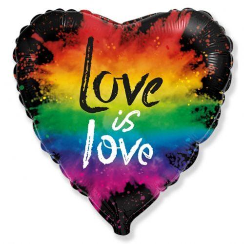 """Sirds formas hēlija balons ar uzrakstu """"Love is love"""""""