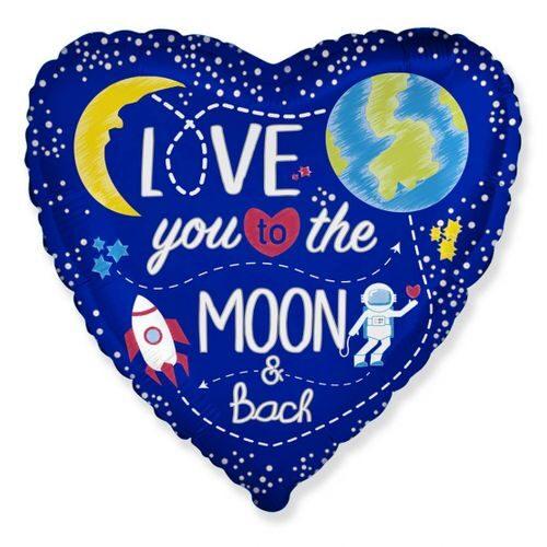 "Sirds formas hēlija balons ar uzrakstu ""Love you to the Moon & back"""