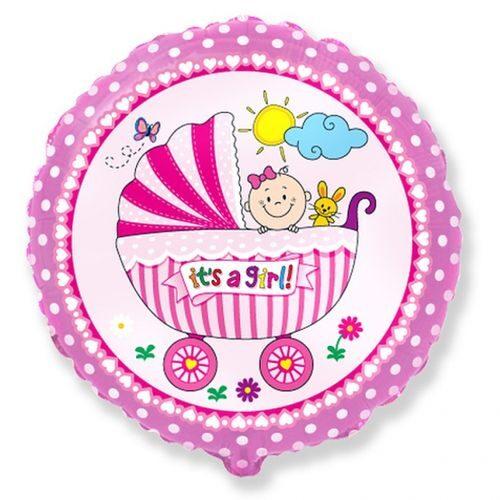 """Rozā hēlija balons """"It's a Girl"""""""