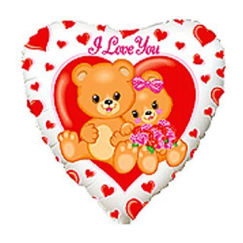 Balons sirds formā I love you ar lācīšiem
