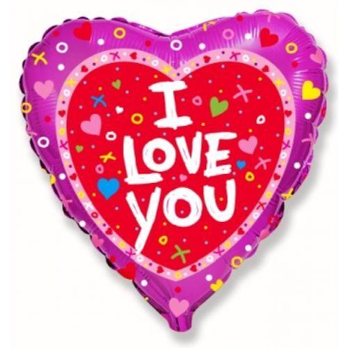Balons sirds formā I love you