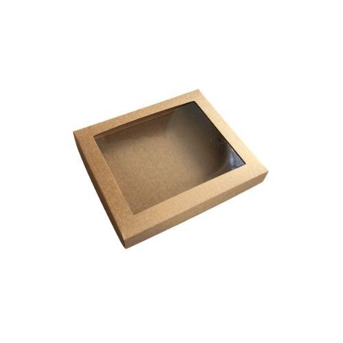Plakana kartona kaste ar caurspīdīgu lodziņu