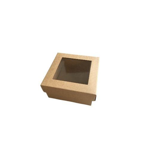 Kartona kaste ar caurspīdīgu vāciņu
