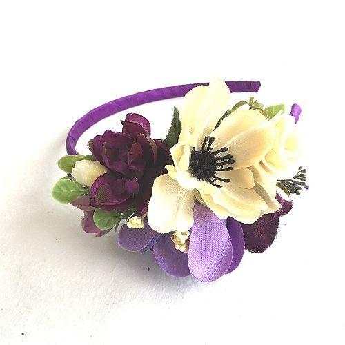 Violeta matu stīpiņa ar ziediem