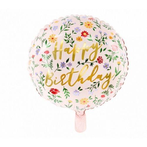 "Balts balons ar zelta uzrakstu ""Happy Birthday"" un puķēm"