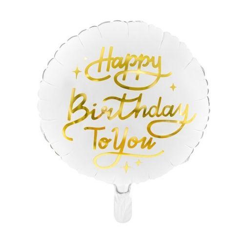 "Balts balons ar zelta uzrakstu ""Happy Birthday"""