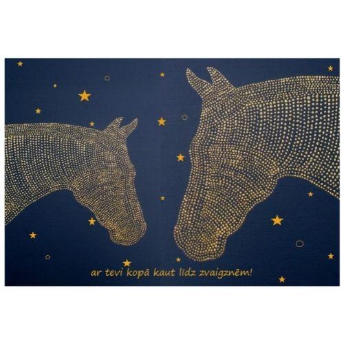 Apsveikuma kartīte ar zirgiem un uzrakstu Ar Tevi kopā kaut līdz zvaigznēm