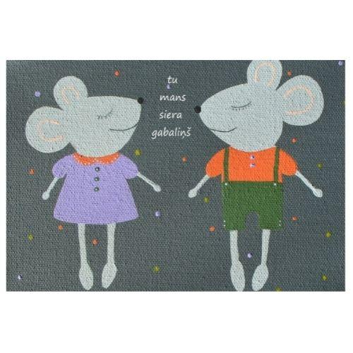 Apsveikuma kartīte ar pelēm un uzrakstu Tu mans siera gabaliņš